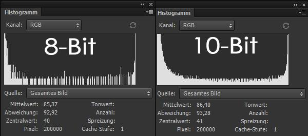 hermann|fotografie - Vergleich Histogramm 8 zu 10-Bit